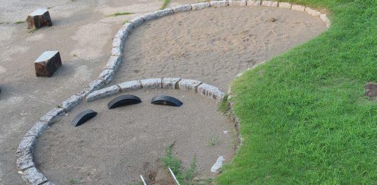 足跡公園2:左足をかたどった砂場